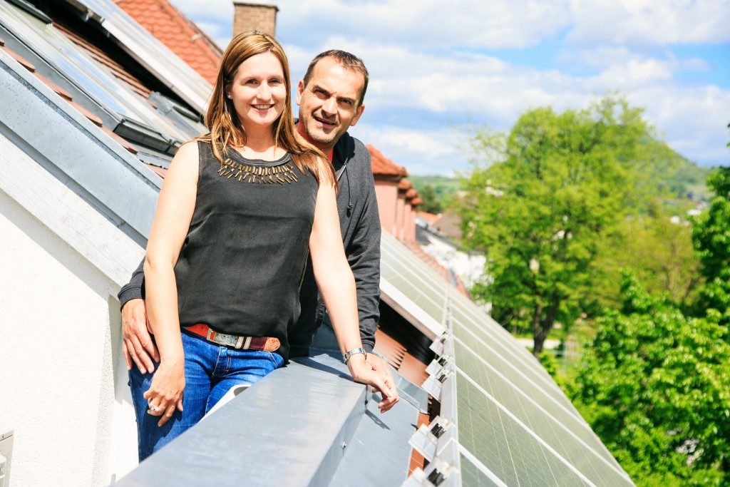 Home owners at their balcony