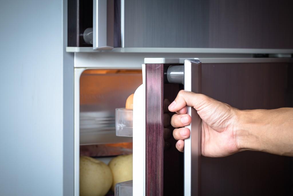 Hand opening refrigerator door