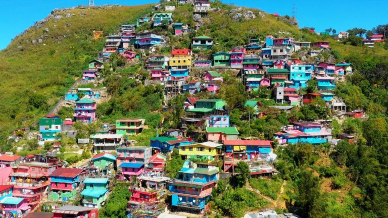 Colorful Houses in aerial view in Baguio City