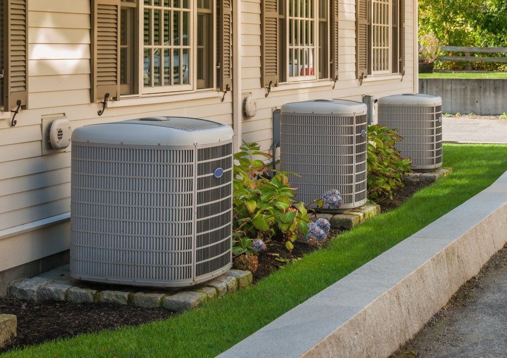air compressors installed at the back of a home