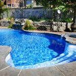 Personal pool at home located in the backyard